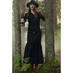 Shabby Apple Black Ruffle Bottom Button Top Dress